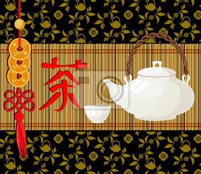 Постер-картина Иероглифы Стиль для черного чая пакет. Перевод китайский иероглиф - чай.Иероглифы<br>Постер на холсте или бумаге. Любого нужного вам размера. В раме или без. Подвес в комплекте. Трехслойная надежная упаковка. Доставим в любую точку России. Вам осталось только повесить картину на стену!<br>