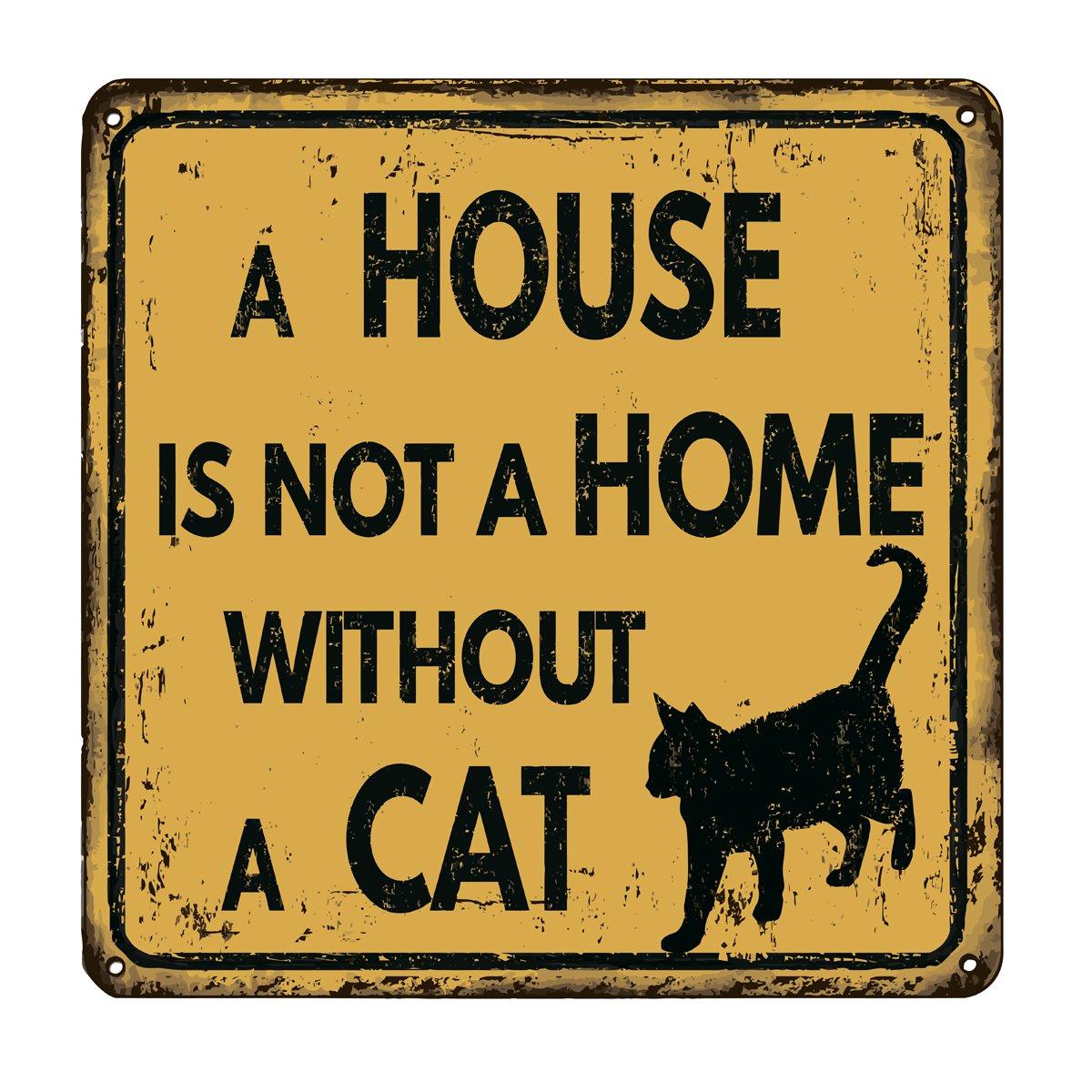 Постер-картина Смешные таблички Дом находится не дома без кошки старинные металлический знакСмешные таблички<br>Постер на холсте или бумаге. Любого нужного вам размера. В раме или без. Подвес в комплекте. Трехслойная надежная упаковка. Доставим в любую точку России. Вам осталось только повесить картину на стену!<br>