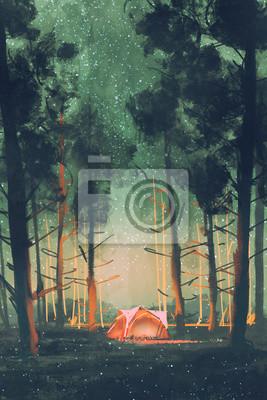 Постер Ночь Поход в лес в ночь с звезд и светлячков,иллюстрация,цифровая живописьНочь<br>Постер на холсте или бумаге. Любого нужного вам размера. В раме или без. Подвес в комплекте. Трехслойная надежная упаковка. Доставим в любую точку России. Вам осталось только повесить картину на стену!<br>