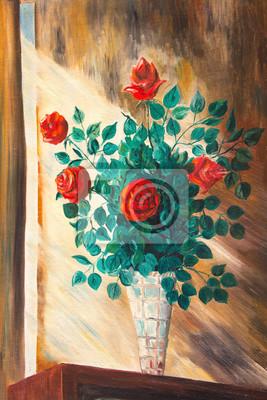 Постер Цветы в современной живописи Картины. Букет роз в вазеЦветы в современной живописи<br>Постер на холсте или бумаге. Любого нужного вам размера. В раме или без. Подвес в комплекте. Трехслойная надежная упаковка. Доставим в любую точку России. Вам осталось только повесить картину на стену!<br>