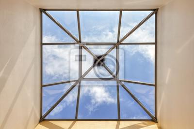 Постер-картина На потолок Окно в потолке с голубое небо и облака, концептуальная фотография.На потолок<br>Постер на холсте или бумаге. Любого нужного вам размера. В раме или без. Подвес в комплекте. Трехслойная надежная упаковка. Доставим в любую точку России. Вам осталось только повесить картину на стену!<br>