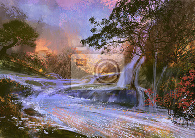 Пейзажи Пейзаж цифровой живописи красивый фиолетовый водопад, 28x20 см, на бумагеПейзаж горный в современной живописи<br>Постер на холсте или бумаге. Любого нужного вам размера. В раме или без. Подвес в комплекте. Трехслойная надежная упаковка. Доставим в любую точку России. Вам осталось только повесить картину на стену!<br>