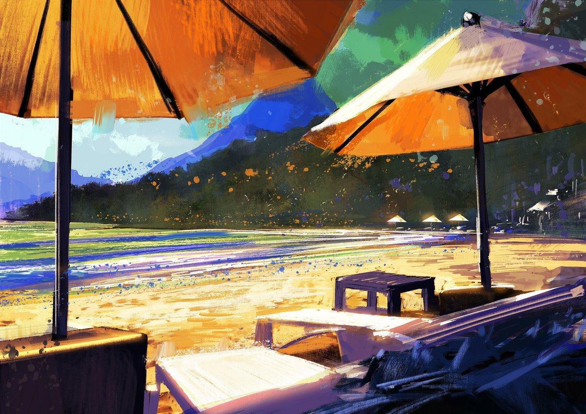 Пейзаж современный морской Красочная картина зонтики и шезлонги на пляжеПейзаж современный морской<br>Репродукция на холсте или бумаге. Любого нужного вам размера. В раме или без. Подвес в комплекте. Трехслойная надежная упаковка. Доставим в любую точку России. Вам осталось только повесить картину на стену!<br>