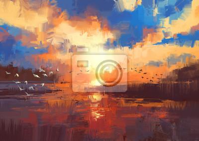 Постер Вечер Красивая роспись, изображающая Закат солнца на озере,иллюстрацииВечер<br>Постер на холсте или бумаге. Любого нужного вам размера. В раме или без. Подвес в комплекте. Трехслойная надежная упаковка. Доставим в любую точку России. Вам осталось только повесить картину на стену!<br>