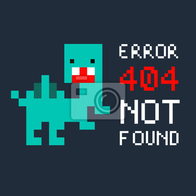 Постер-картина Пиксель-арт Иллюстрация пиксель-арт, 8 бит на страница сайте не найдена ошибка 404 и красочный динозавр, изолированные на синем фоне вектор EPS 10Пиксель-арт<br>Постер на холсте или бумаге. Любого нужного вам размера. В раме или без. Подвес в комплекте. Трехслойная надежная упаковка. Доставим в любую точку России. Вам осталось только повесить картину на стену!<br>