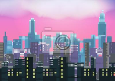 Постер-картина Пиксель-арт Ретро восемь бит Город ночью фон - векторные иллюстрацииПиксель-арт<br>Постер на холсте или бумаге. Любого нужного вам размера. В раме или без. Подвес в комплекте. Трехслойная надежная упаковка. Доставим в любую точку России. Вам осталось только повесить картину на стену!<br>