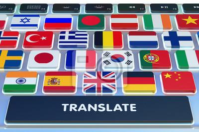 Постер Оформление офиса Языки, концепция перевод, онлайн переводчик, крупным планом клавиатуры компьютера с национальными флагами стран мира на клавиши и кнопку перевести, 30x20 см, на бумагеБюро переводов<br>Постер на холсте или бумаге. Любого нужного вам размера. В раме или без. Подвес в комплекте. Трехслойная надежная упаковка. Доставим в любую точку России. Вам осталось только повесить картину на стену!<br>
