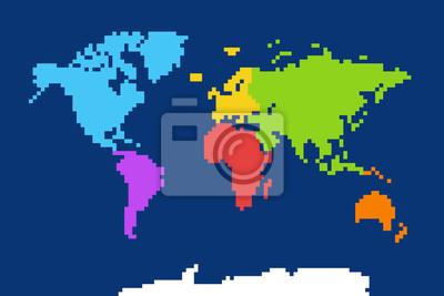 Постер-картина Пиксель-арт Цветная карта мира. Пиксель арт иллюстрацииПиксель-арт<br>Постер на холсте или бумаге. Любого нужного вам размера. В раме или без. Подвес в комплекте. Трехслойная надежная упаковка. Доставим в любую точку России. Вам осталось только повесить картину на стену!<br>