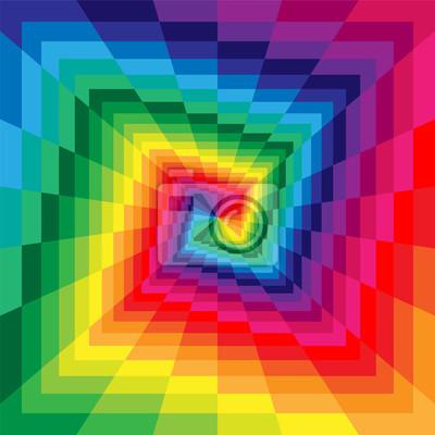 Постер-картина Оптическое искусство Векторные Иллюстрации. Красочные спирали из прямоугольников расширяется от центра. Оптические иллюзии перспективы. Подходит для текстиля, ткани, упаковка и веб-дизайн.Оптическое искусство<br>Постер на холсте или бумаге. Любого нужного вам размера. В раме или без. Подвес в комплекте. Трехслойная надежная упаковка. Доставим в любую точку России. Вам осталось только повесить картину на стену!<br>
