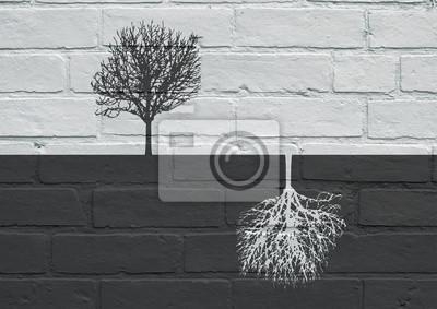 Постер-картина Стрит-арт Городского искусства, черный и белый деревьяСтрит-арт<br>Постер на холсте или бумаге. Любого нужного вам размера. В раме или без. Подвес в комплекте. Трехслойная надежная упаковка. Доставим в любую точку России. Вам осталось только повесить картину на стену!<br>