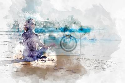 Пейзаж современный морской Молодая женщина, медитируя на пляже. Цифровое искусствоПейзаж современный морской<br>Репродукция на холсте или бумаге. Любого нужного вам размера. В раме или без. Подвес в комплекте. Трехслойная надежная упаковка. Доставим в любую точку России. Вам осталось только повесить картину на стену!<br>