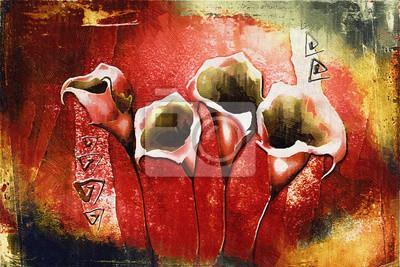 Цветы в современной живописи, картина Винтаж масляной живописи с искусством иллюстрации цветокЦветы в современной живописи<br>Репродукция на холсте или бумаге. Любого нужного вам размера. В раме или без. Подвес в комплекте. Трехслойная надежная упаковка. Доставим в любую точку России. Вам осталось только повесить картину на стену!<br>
