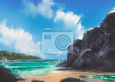 Пейзаж современный морской Красивый пляж летом естественный открытый,иллюстрация,цифровая живописьПейзаж современный морской<br>Репродукция на холсте или бумаге. Любого нужного вам размера. В раме или без. Подвес в комплекте. Трехслойная надежная упаковка. Доставим в любую точку России. Вам осталось только повесить картину на стену!<br>