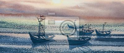Пейзаж современный морской Рыбацкие лодки на море в сумерках времяПейзаж современный морской<br>Репродукция на холсте или бумаге. Любого нужного вам размера. В раме или без. Подвес в комплекте. Трехслойная надежная упаковка. Доставим в любую точку России. Вам осталось только повесить картину на стену!<br>