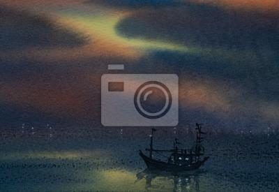 Пейзаж современный морской Акварельная живопись красивый вид на море с одной лодки и сумеречном небе Пейзаж современный морской<br>Репродукция на холсте или бумаге. Любого нужного вам размера. В раме или без. Подвес в комплекте. Трехслойная надежная упаковка. Доставим в любую точку России. Вам осталось только повесить картину на стену!<br>