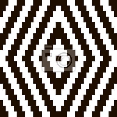 Постер-картина Пиксель-арт Пиксель черный и белый орнамент. Пиксель, геометрический. Векторные иллюстрацииПиксель-арт<br>Постер на холсте или бумаге. Любого нужного вам размера. В раме или без. Подвес в комплекте. Трехслойная надежная упаковка. Доставим в любую точку России. Вам осталось только повесить картину на стену!<br>