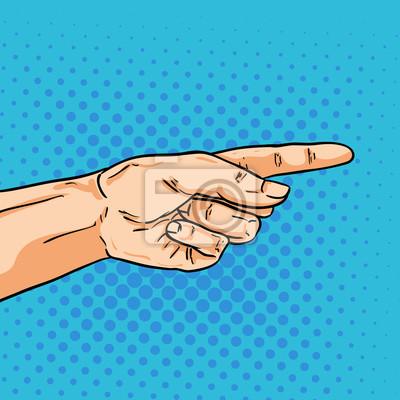 Постер-картина Смешные таблички Вектор, указывая рукой. Один палец показывает путь. ИллюстрацияСмешные таблички<br>Постер на холсте или бумаге. Любого нужного вам размера. В раме или без. Подвес в комплекте. Трехслойная надежная упаковка. Доставим в любую точку России. Вам осталось только повесить картину на стену!<br>