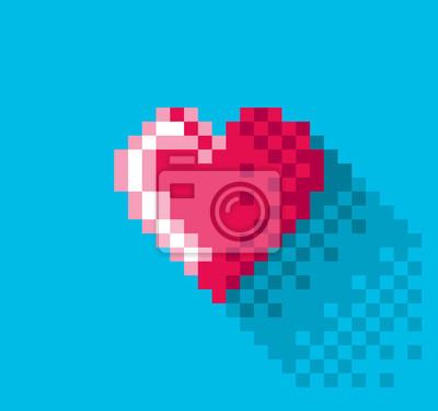 Постер-картина Пиксель-арт Пиксель сердца в плоском дизайне, пиксель-арт иллюстрация. - Редактируемые векторныеПиксель-арт<br>Постер на холсте или бумаге. Любого нужного вам размера. В раме или без. Подвес в комплекте. Трехслойная надежная упаковка. Доставим в любую точку России. Вам осталось только повесить картину на стену!<br>