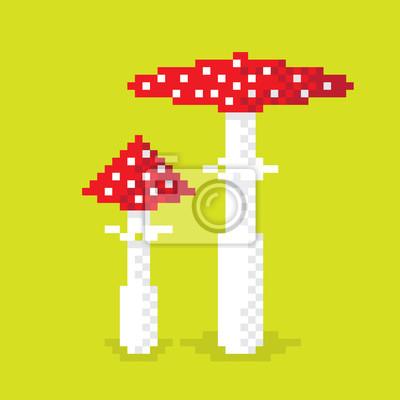 Постер-картина Пиксель-арт Пару пикселей ядовитый гриб, иллюстрации, пиксель арт-дизайн. Редактируемые векторныеПиксель-арт<br>Постер на холсте или бумаге. Любого нужного вам размера. В раме или без. Подвес в комплекте. Трехслойная надежная упаковка. Доставим в любую точку России. Вам осталось только повесить картину на стену!<br>