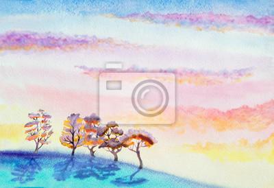 Постер Утро Ручная роспись пейзаж с драматическим небо с облакамиУтро<br>Постер на холсте или бумаге. Любого нужного вам размера. В раме или без. Подвес в комплекте. Трехслойная надежная упаковка. Доставим в любую точку России. Вам осталось только повесить картину на стену!<br>