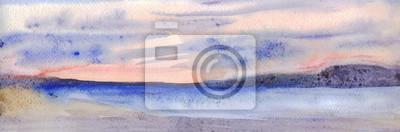 Пейзаж современный морской Панорамный вечерний пейзаж. Небо, горы, море, пляж. Акварельная живописьПейзаж современный морской<br>Репродукция на холсте или бумаге. Любого нужного вам размера. В раме или без. Подвес в комплекте. Трехслойная надежная упаковка. Доставим в любую точку России. Вам осталось только повесить картину на стену!<br>