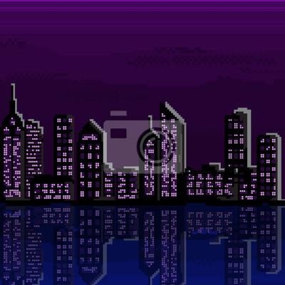 Постер-картина Пиксель-арт Иллюстрация из города пикселяПиксель-арт<br>Постер на холсте или бумаге. Любого нужного вам размера. В раме или без. Подвес в комплекте. Трехслойная надежная упаковка. Доставим в любую точку России. Вам осталось только повесить картину на стену!<br>