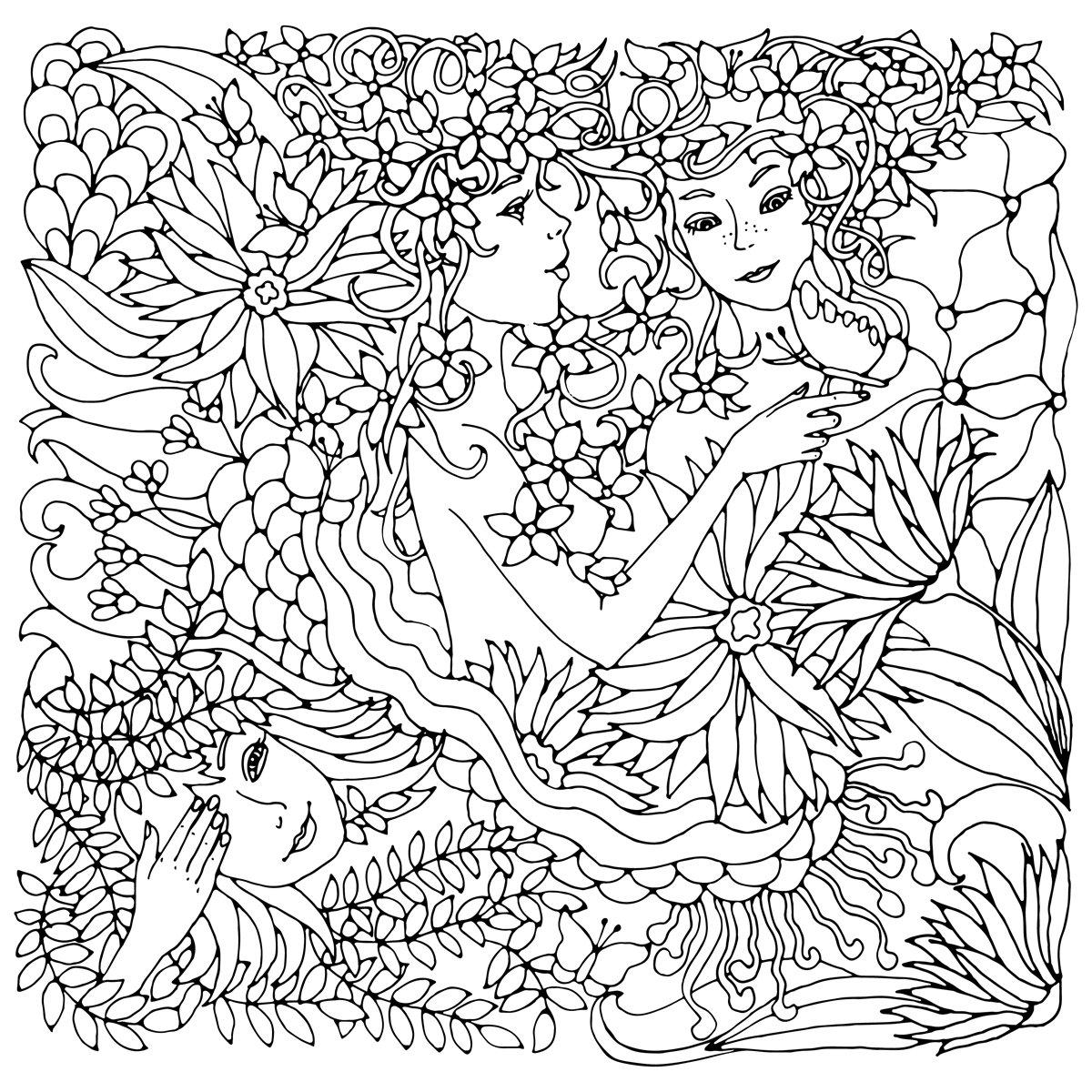 Постер-картина Раскраски антистресс Цветочный декоративный квадратный элемент с сюрреалистическими женские лица, листья, волны, ветви и цветы. Черно-белые векторные иллюстрации для раскраски и другие.Раскраски антистресс<br>Постер на холсте или бумаге. Любого нужного вам размера. В раме или без. Подвес в комплекте. Трехслойная надежная упаковка. Доставим в любую точку России. Вам осталось только повесить картину на стену!<br>