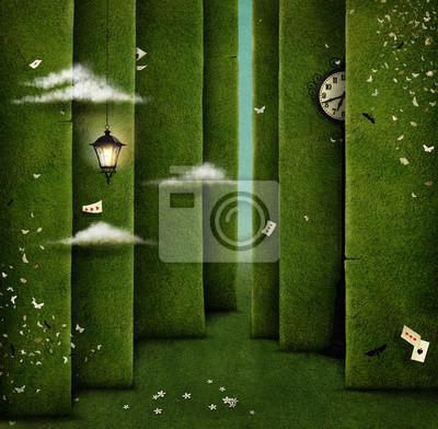 Постер-картина Лабиринт Концептуальная иллюстрация зеленый лабиринт и фантазийные объектыЛабиринт<br>Постер на холсте или бумаге. Любого нужного вам размера. В раме или без. Подвес в комплекте. Трехслойная надежная упаковка. Доставим в любую точку России. Вам осталось только повесить картину на стену!<br>