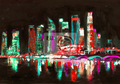 Постер Современный городской пейзаж Сингапур масляной живописи. ГородСовременный городской пейзаж<br>Постер на холсте или бумаге. Любого нужного вам размера. В раме или без. Подвес в комплекте. Трехслойная надежная упаковка. Доставим в любую точку России. Вам осталось только повесить картину на стену!<br>