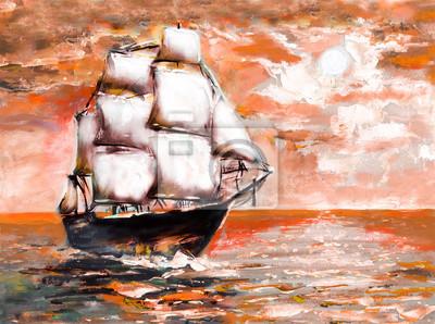 Пейзаж современный морской Корабль в океане с белыми парусами, картина маслом. закатПейзаж современный морской<br>Репродукция на холсте или бумаге. Любого нужного вам размера. В раме или без. Подвес в комплекте. Трехслойная надежная упаковка. Доставим в любую точку России. Вам осталось только повесить картину на стену!<br>
