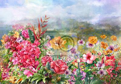 Цветы в современной живописи, картина Пейзаж из разноцветных цветов акварельной живописи стильЦветы в современной живописи<br>Репродукция на холсте или бумаге. Любого нужного вам размера. В раме или без. Подвес в комплекте. Трехслойная надежная упаковка. Доставим в любую точку России. Вам осталось только повесить картину на стену!<br>