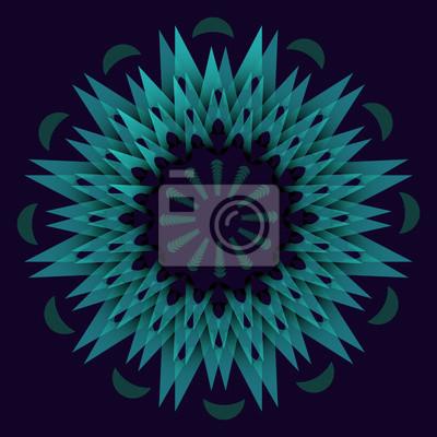 Постер-картина Оптическое искусство Темно-зеленый абстрактный Звездный элемент в оптической художественный стиль. Концентрические звезды фигуры на темном фоне. Мандала для спокойного сна полученииОптическое искусство<br>Постер на холсте или бумаге. Любого нужного вам размера. В раме или без. Подвес в комплекте. Трехслойная надежная упаковка. Доставим в любую точку России. Вам осталось только повесить картину на стену!<br>