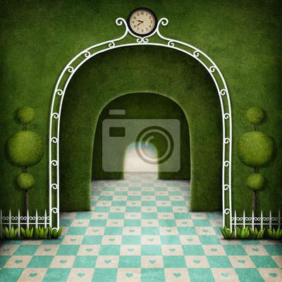 Постер-картина Лабиринт Фантазия фон зеленый лабиринт с аркой и деревоЛабиринт<br>Постер на холсте или бумаге. Любого нужного вам размера. В раме или без. Подвес в комплекте. Трехслойная надежная упаковка. Доставим в любую точку России. Вам осталось только повесить картину на стену!<br>