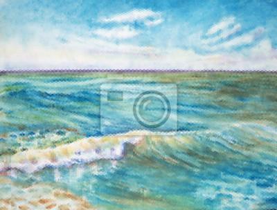 Пейзаж современный морской Вектор летнее утро пейзаж с прибрежной волной, облачно горизонт, голубое небоПейзаж современный морской<br>Репродукция на холсте или бумаге. Любого нужного вам размера. В раме или без. Подвес в комплекте. Трехслойная надежная упаковка. Доставим в любую точку России. Вам осталось только повесить картину на стену!<br>