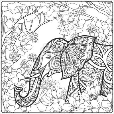 Постер-картина Раскраски антистресс Раскраски страницу со слоном в лес.Раскраски антистресс<br>Постер на холсте или бумаге. Любого нужного вам размера. В раме или без. Подвес в комплекте. Трехслойная надежная упаковка. Доставим в любую точку России. Вам осталось только повесить картину на стену!<br>