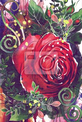 Цветы в современной живописи, картина Рисунок, акварель букет из красных роз.Цветы в современной живописи<br>Репродукция на холсте или бумаге. Любого нужного вам размера. В раме или без. Подвес в комплекте. Трехслойная надежная упаковка. Доставим в любую точку России. Вам осталось только повесить картину на стену!<br>