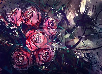 Цветы в современной живописи, картина Акварельная живопись стиль розы абстрактного искусства.Цветы в современной живописи<br>Репродукция на холсте или бумаге. Любого нужного вам размера. В раме или без. Подвес в комплекте. Трехслойная надежная упаковка. Доставим в любую точку России. Вам осталось только повесить картину на стену!<br>