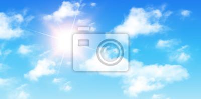 Постер-картина На потолок Голубое небо с облаками и солнцемНа потолок<br>Постер на холсте или бумаге. Любого нужного вам размера. В раме или без. Подвес в комплекте. Трехслойная надежная упаковка. Доставим в любую точку России. Вам осталось только повесить картину на стену!<br>