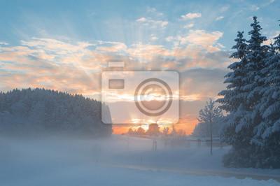 Постер Утро Зимнее утро снежный пейзаж с рассветом солнечные лучи ломая клУтро<br>Постер на холсте или бумаге. Любого нужного вам размера. В раме или без. Подвес в комплекте. Трехслойная надежная упаковка. Доставим в любую точку России. Вам осталось только повесить картину на стену!<br>
