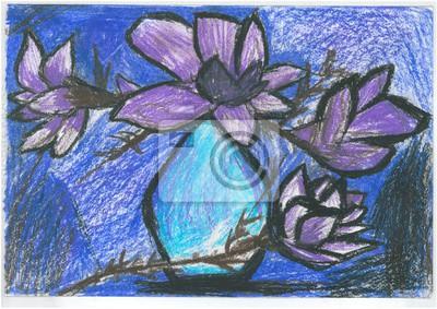 Цветы в современной живописи, картина Красивые цветы в вазе, нарисованные пастелью. На синем фоне, ручная работаЦветы в современной живописи<br>Репродукция на холсте или бумаге. Любого нужного вам размера. В раме или без. Подвес в комплекте. Трехслойная надежная упаковка. Доставим в любую точку России. Вам осталось только повесить картину на стену!<br>