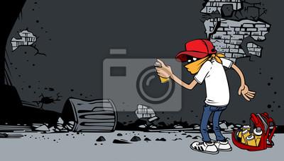 Постер-картина Стрит-арт Мультфильм граффити художник за работойСтрит-арт<br>Постер на холсте или бумаге. Любого нужного вам размера. В раме или без. Подвес в комплекте. Трехслойная надежная упаковка. Доставим в любую точку России. Вам осталось только повесить картину на стену!<br>