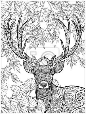 Постер-картина Раскраски антистресс Раскраски страницу с оленями в лесу.Раскраски антистресс<br>Постер на холсте или бумаге. Любого нужного вам размера. В раме или без. Подвес в комплекте. Трехслойная надежная упаковка. Доставим в любую точку России. Вам осталось только повесить картину на стену!<br>