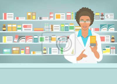 Постер Оформление офиса Фармацевт в аптеке в аптеке. Черная женщина аптекарь стоит напротив полки с медикаментами и указывает на препарат. Плоские векторные иллюстрации. Здравоохранение медицинское образование. Аптека баннер мультфильм, 28x20 см, на бумагеАптека<br>Постер на холсте или бумаге. Любого нужного вам размера. В раме или без. Подвес в комплекте. Трехслойная надежная упаковка. Доставим в любую точку России. Вам осталось только повесить картину на стену!<br>