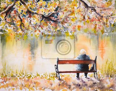 Постер Современный городской пейзаж Одинокий старший женщина, сидя на скамейке осеннего озера.Картины, созданные с помощью акварели.Современный городской пейзаж<br>Постер на холсте или бумаге. Любого нужного вам размера. В раме или без. Подвес в комплекте. Трехслойная надежная упаковка. Доставим в любую точку России. Вам осталось только повесить картину на стену!<br>
