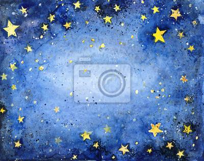 Постер-картина На потолок Ручная роспись голубое небо с яркими звездамиНа потолок<br>Постер на холсте или бумаге. Любого нужного вам размера. В раме или без. Подвес в комплекте. Трехслойная надежная упаковка. Доставим в любую точку России. Вам осталось только повесить картину на стену!<br>