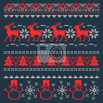 Постер-картина Пиксель-арт Рождественские фон пикселей на традиционный скандинавский свитер. Векторные иллюстрацииПиксель-арт<br>Постер на холсте или бумаге. Любого нужного вам размера. В раме или без. Подвес в комплекте. Трехслойная надежная упаковка. Доставим в любую точку России. Вам осталось только повесить картину на стену!<br>