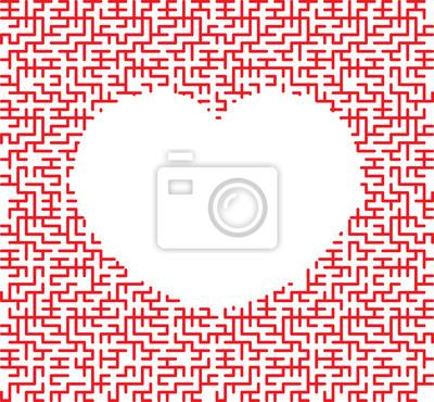 Постер-картина Лабиринт Красное сердце в форме замысловатый лабиринт на белом фонеЛабиринт<br>Постер на холсте или бумаге. Любого нужного вам размера. В раме или без. Подвес в комплекте. Трехслойная надежная упаковка. Доставим в любую точку России. Вам осталось только повесить картину на стену!<br>