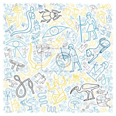 Постер-картина Иероглифы Красочные египетские иероглифыИероглифы<br>Постер на холсте или бумаге. Любого нужного вам размера. В раме или без. Подвес в комплекте. Трехслойная надежная упаковка. Доставим в любую точку России. Вам осталось только повесить картину на стену!<br>