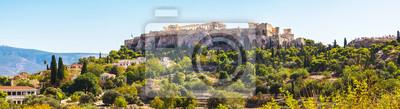 День Афины панорамный пейзаж с видом на Акрополь против голубого неба, Греция, 73x20 см, на бумагеАфины, Акрополь<br>Постер на холсте или бумаге. Любого нужного вам размера. В раме или без. Подвес в комплекте. Трехслойная надежная упаковка. Доставим в любую точку России. Вам осталось только повесить картину на стену!<br>