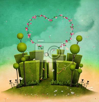 Постер-картина Лабиринт Концептуальная иллюстрация фэнтези зеленый лабиринт с аркой роз в форме сердцаЛабиринт<br>Постер на холсте или бумаге. Любого нужного вам размера. В раме или без. Подвес в комплекте. Трехслойная надежная упаковка. Доставим в любую точку России. Вам осталось только повесить картину на стену!<br>
